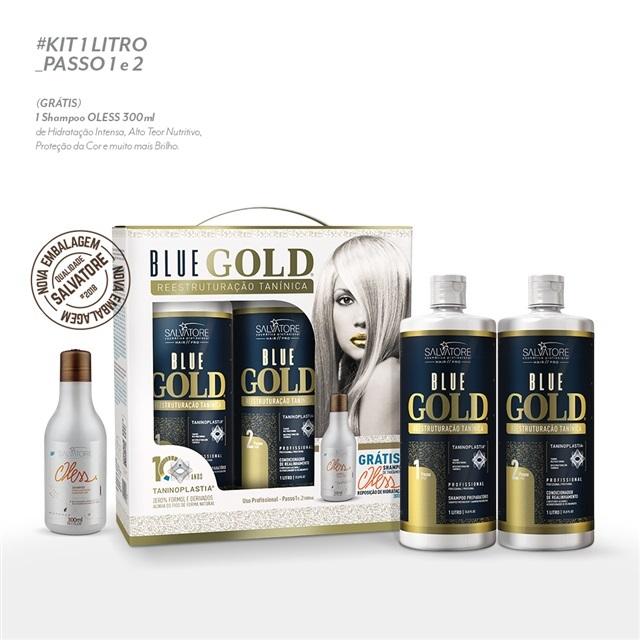 Kit Salvatore Blue Gold Reestruturação Tanínica 2x1 Litro (Nova Embalagem) f8f33a3547