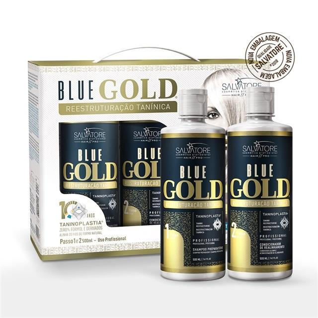 Kit Salvatore Blue Gold Reestruturação Tanínica 2x500ml (Nova Embalagem) 9b7654f5d3